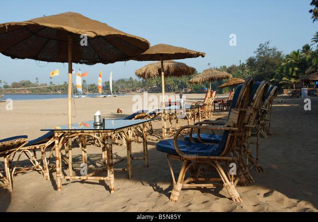 Beachrestaurant on Patnem beach India Indien - Stock-Bilder