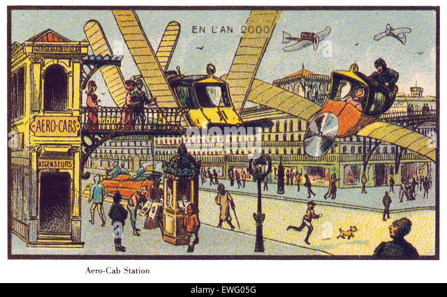 Vintage Futuristic Illustrations of France in the Year 2000 - Stock Image