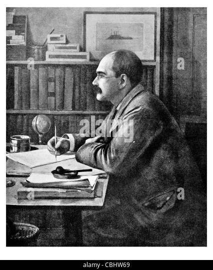 Joseph Rudyard Kipling 1865 1936 English poet short story writer Nobel Prize Literature The Jungle Book author - Stock Image