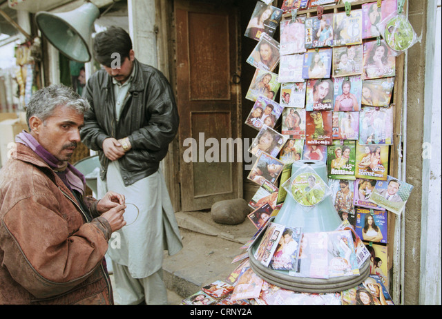 Sale of Indian Movies in Kabul. - Stock Image