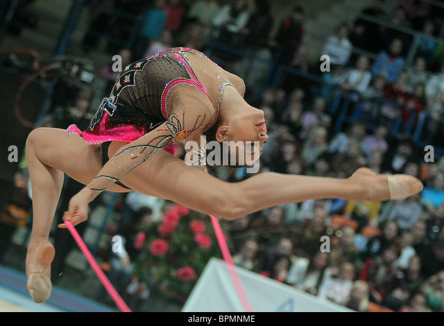 Rhythmic gymnastics individual events at Moscow-2009 Grand Prix competition - Stock Image