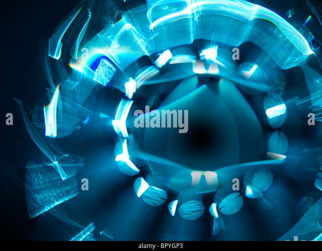 Lens flare blue star burst light - Stock Image
