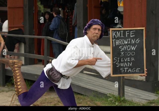 Man promotes his show at Renaissance Faire in Tuxedo Park NY USA - Stock Image