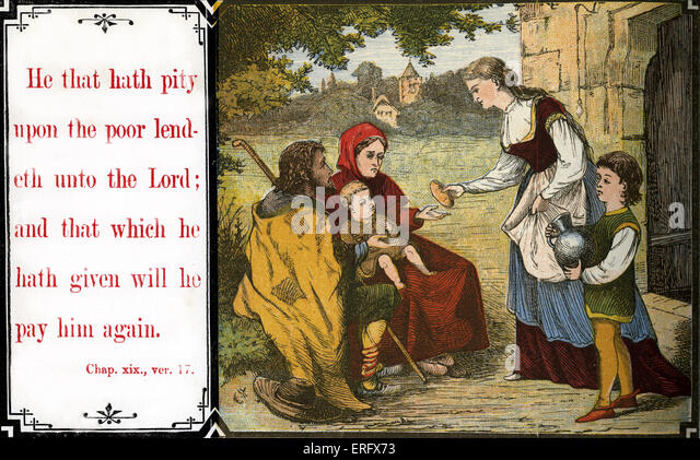 Teaching chidren morals:' He that hath pity upon the poor lendeth unto the Lord;  and that which he hath given - Stock Image