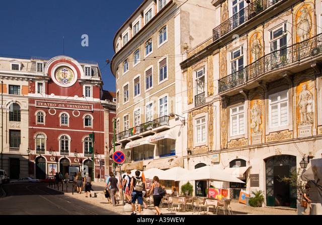 Portugal Lisbon Barrio alto Teatro da Trinidade facades with azulejos - Stock Image