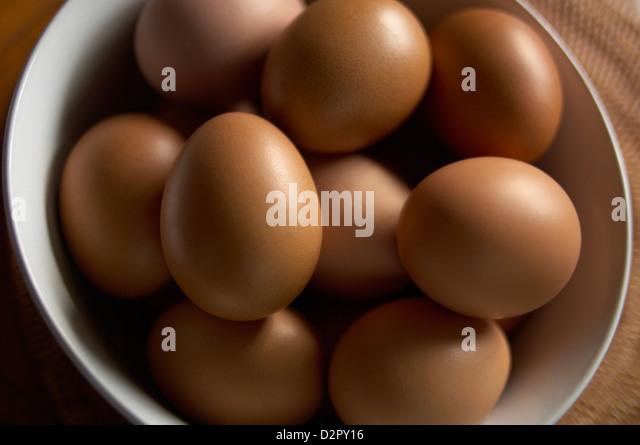 Bowl of fresh free range hens eggs - Stock Image
