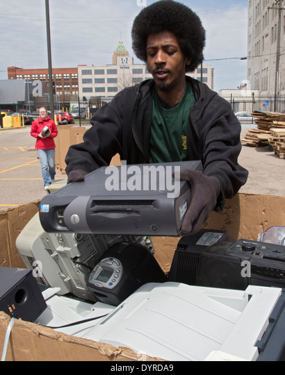 Detroit, Michigan - Old and unwanted electronic items are collected for recycling at Wayne State University. - Stock Image