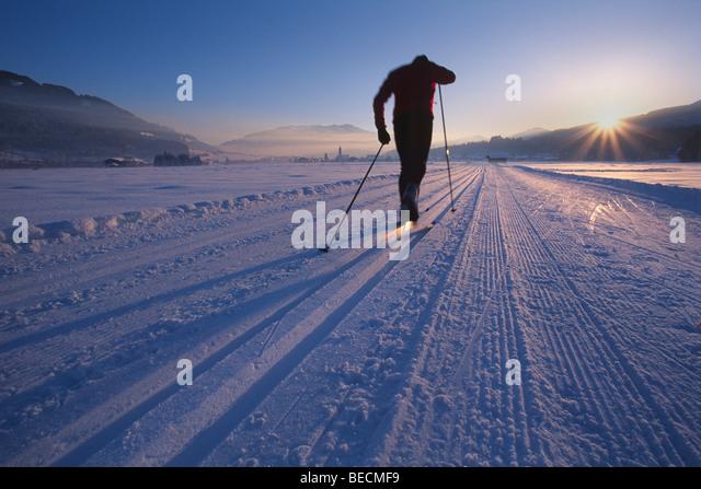 Cross-country skier, Oberndorf, Kitzbuehl Alps, North Tyrol, Austria, Europe - Stock Image