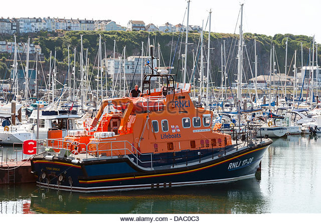 Torbay RNLI Lifeboat Brixham harbour, Devon, UK. - Stock Image