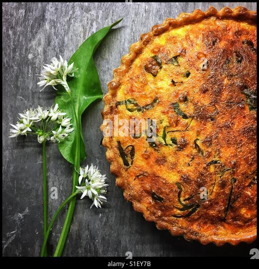 Wild garlic Quiche - Stock-Bilder