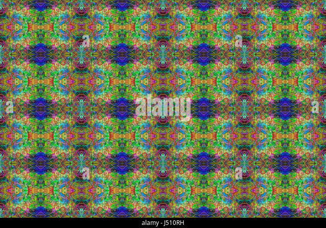A highly detailed seamless abstract pattern in greens, blues, red and yellow for backgrounds, textures, designs, - Stock Image