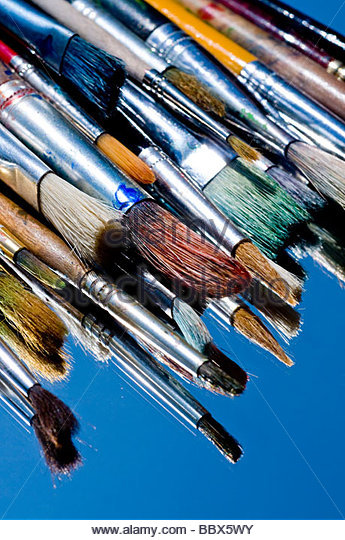 artist paint brushes - Stock Image