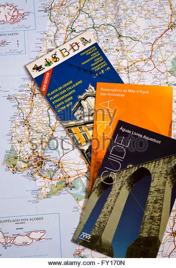 Travel brochures and map of Portugal - Stock-Bilder