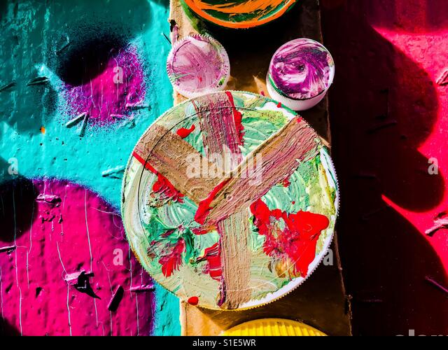 Peace symbol hand painted in bright colors - Stock-Bilder