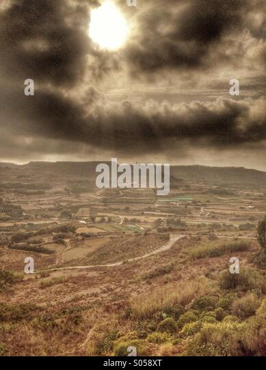 Storm clouds and sunset - Stock Image