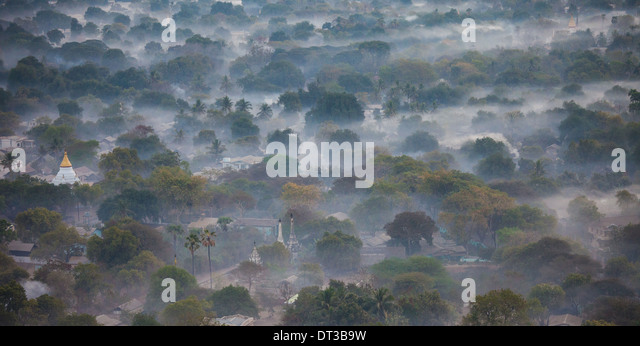 Aerial view of Bagan, the plain of pagodas in Myanmar - Stock-Bilder