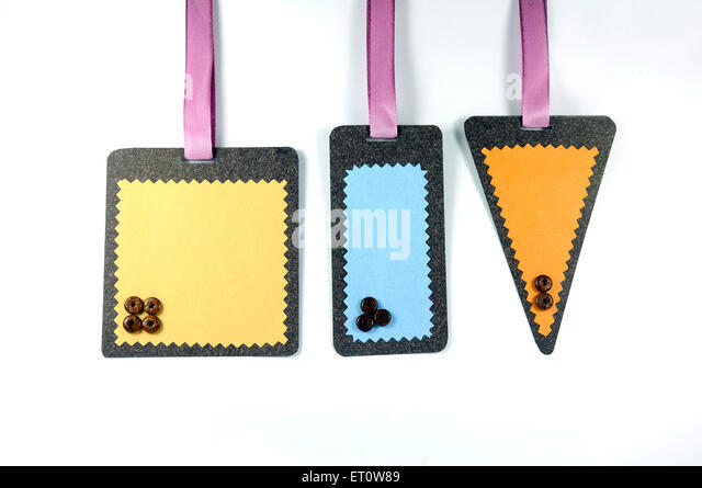 Different shapes of labels on white background India Asia - Stock Image