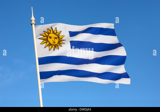 The national flag of Uruguay - Stock Image