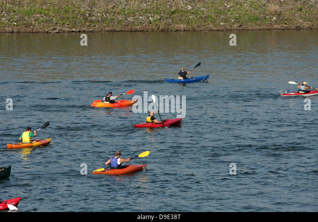 KAYAKERS ON WEST BRANCH SUSQUEHANNA RIVER IN LOCK HAVEN, PENNSYLVANIA  DURING BEST OF CLINTON COUNTY TRIATHALON - Stock Image