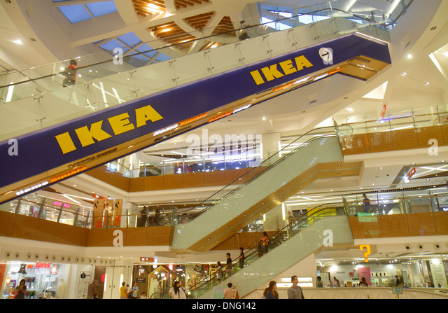 Hong Kong China New Territories Sha Tin HomeSquare Mall shopping inside IKEA escalators atrium multiple levels - Stock Image