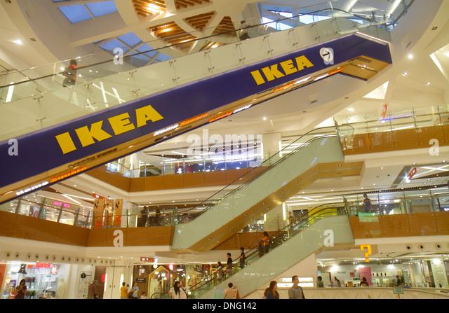 Hong Kong China New Territories Sha Tin HomeSquare Mall shopping inside IKEA escalators atrium multiple levels - Stock Image