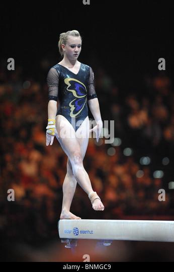 Sport gymnastics art gymnastics Ariella Käslin Switzerland beam top-class sport - Stock Image