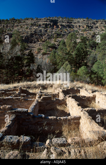 New Mexico Southwest Frijoles Canyon Bandelier National Monument Rainbow House Pueblo Native ruins NM NM - Stock Image