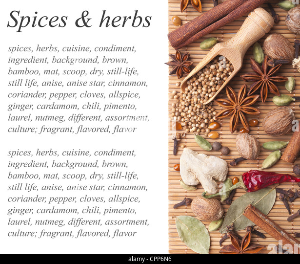 Background with spices and herbs - Stock Image