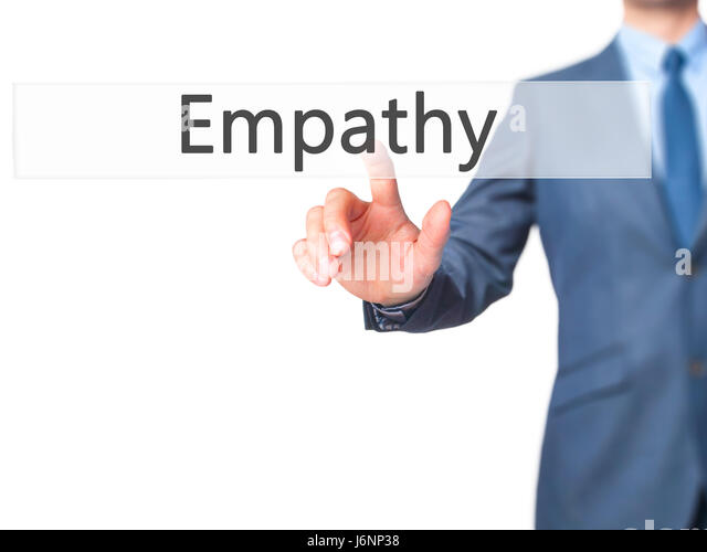 Empathy - Businessman hand pressing button on touch screen interface. Business, technology, internet concept. Stock - Stock Image