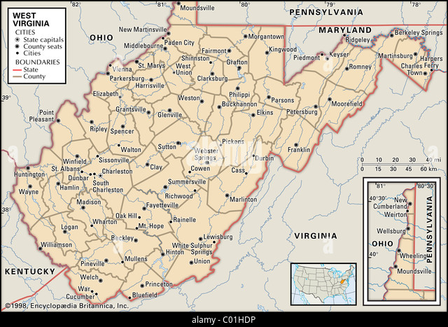 Political map of West Virginia - Stock Image