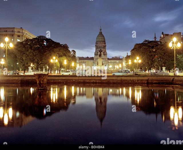 Parliament, dusk, congress building in the Balvanera quarter of Buenos Aires, Argentina - Stock Image