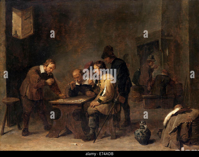 The Gamblers - by David Teniers, 1640 - Stock Image