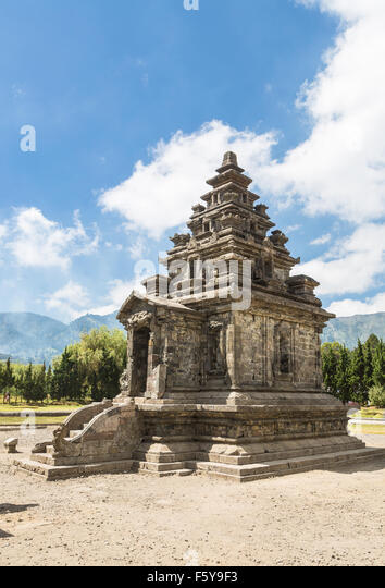 Arjuna temple in the Dieng Plateau near Wonosobo in central Java, Indonesia. These Hindu temples are known as being - Stock Image