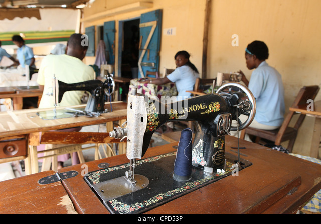 Tailoring workshop, Lome, Togo, West Africa, Africa - Stock-Bilder