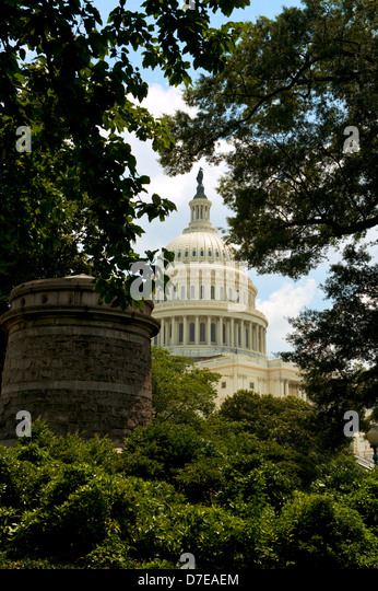 The US Capitol Building in Washington DC artistically framed through trees - Stock-Bilder