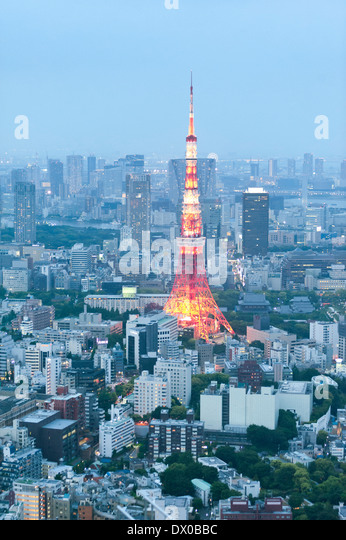 View of skyline of Tokyo and the Television Tower in Japan - Stock Image