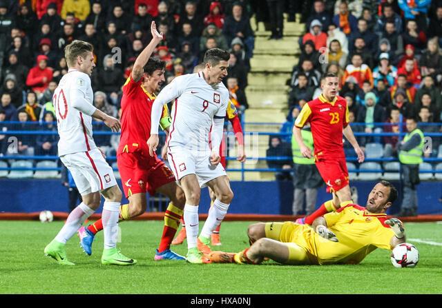 Podgorica City Stadium, Montenegro. 26th March 2017. World Cup 2018 Internationl football qualification, Montenegro - Stock-Bilder