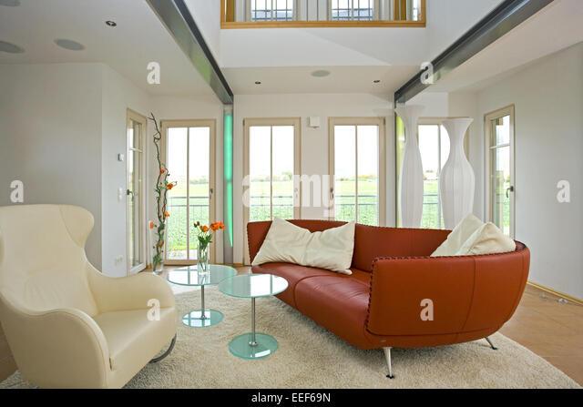 Architektur, Baustil, Leder, Couch, Sofa, Couchtisch, Dekoration, Einrichtungsgegenstaende, Innenarchitektur, Inneneinrichtung, - Stock-Bilder