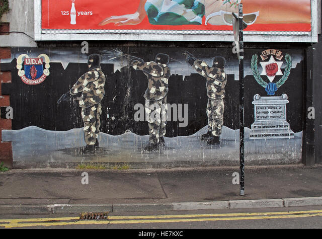 UFF Unionist mural, off Shankill Road West Belfast,Northern Ireland,UK - UDA / UFF - Stock Image