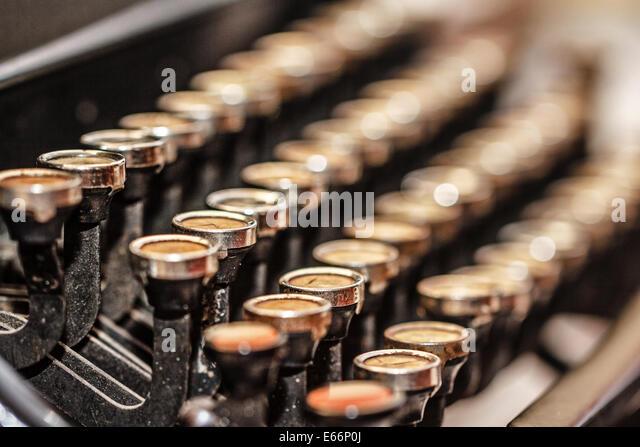 Retro vintage typewriter closeup shot office supplies - Stock-Bilder