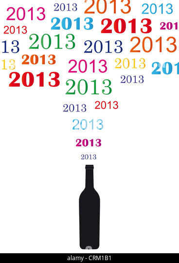 Concept card on New Year 2013 with champagne - Stock Image