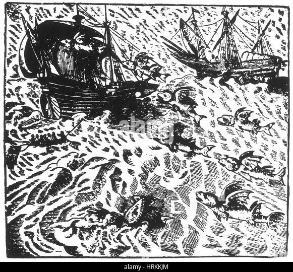 Flying Fish Attack Ship, 16th Century - Stock Image
