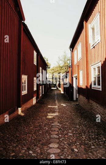 Cobbled street in Sweden - Stock Image