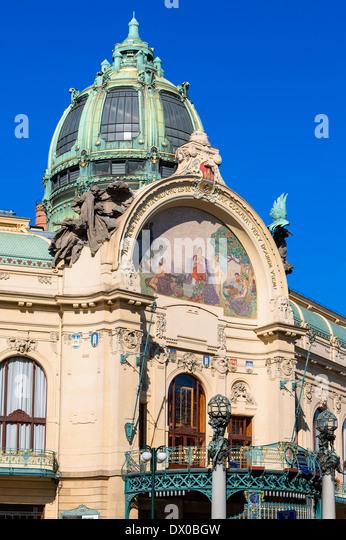Prague, The Municipal House - Stock-Bilder