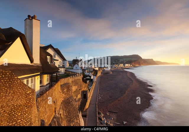 View of houses overlooking Sidmouth seafront, Sidmouth, Devon, England. Winter (February) 2011. - Stock Image