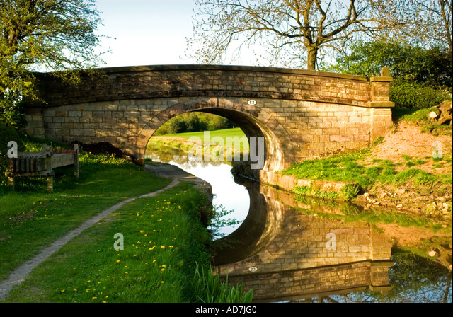 Traditional Bridge Crossing The Canal Cheshire UK - Stock Image