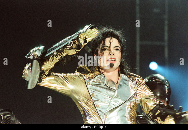 Michael Jackson seen here on stage at Sheffield 10th July 1997 - Stock-Bilder
