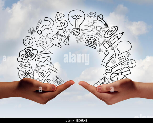 Business exchange concept as two human hands from diverse cultural backgrounds exchanging financial and economic - Stock-Bilder