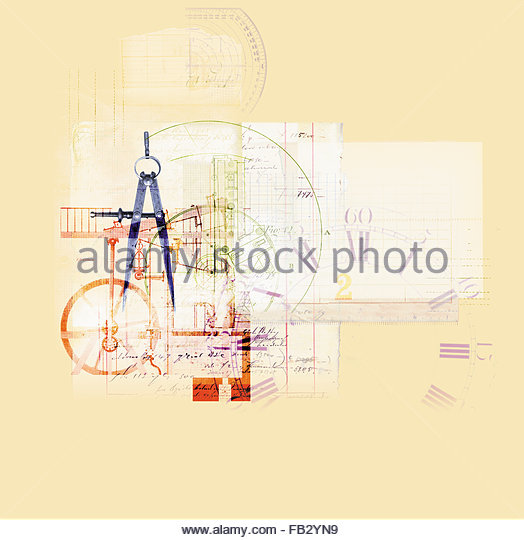 Collage of clock, accounts and measurement - Stock Image