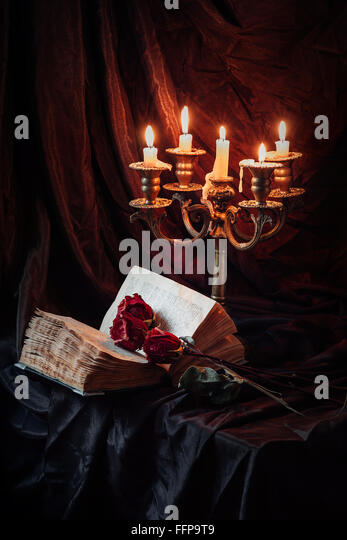 Gothic still life with skull - Stock Image